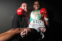 Tyson Fury and Barry Kid Galahad pose back stage - Boxing contest at the Magna Centre, Rotherham, promoted by Hennessy Sports - 18/02/12 - MANDATORY CREDIT: Chris Royle.