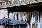 Rusted hinge on weathered barn