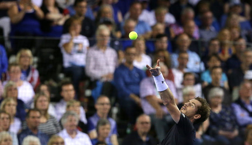 Great Britain&rsquo;s Andy Murray in action during his match against Australia&rsquo;s Bernard Tomic - Andy Murray def Bernard Tomic 7-5, 6-3, 6-2<br /> <br /> Photographer Stephen White/CameraSport<br /> <br /> International Tennis - 2015 Davis Cup by BNP Paribas - World Group Semi-Final - Great Britain v Australia - Day 3 - Sunday 20th September 2015 - The Emirates Arena - Glasgow<br /> <br /> &copy; CameraSport - 43 Linden Ave. Countesthorpe. Leicester. England. LE8 5PG - Tel: +44 (0) 116 277 4147 - admin@camerasport.com - www.camerasport.com.