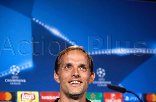 26.09.2016. Dortmund, Germany.  Coach Thomas Tuchel from Borussia Dortmund  smiles during a press conference in Dortmund, Germany, 26 September 2016. Dortmund plays in Champions League versus Real Madrid on 27 September 2016.