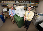 "DePaul University's Records Management gurus, director Todd Kleine, left, and associate director Nate Pauley, are available to help faculty and staff members determine what to keep, and what to toss into the ""circular file"".<br />