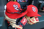 CHAPEL HILL, NC - FEBRUARY 21: Saint John's baseball caps and gloves. The University of North Carolina Tar heels hosted the Saint John's University Red Storm on February 21, 2018, at Boshamer Stadium in Chapel Hill, NC in a Division I College Baseball game. St John's won the game 5-2.