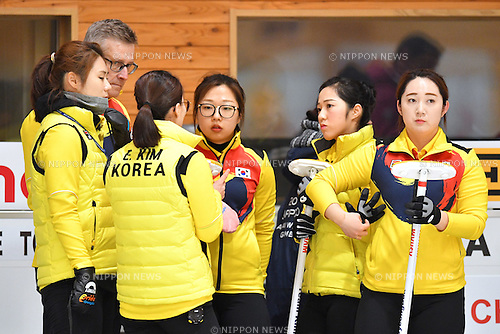 Korea women's team group (KOR), <br /> FEBRUARY 20, 2017 -Curling : <br /> Women's Round Robin match between<br /> Japan 5-7 Korea <br /> during the 2017 Sapporo Asian Winter Games <br /> at Sapporo Curling Stadium in Hokkaido, Japan. <br /> (Photo by AFLO SPORT)