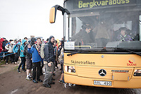 Scouts going to Camp in Camp are being bussed out from Jamboree area. They are going away for two days at another Camp somewhere in southern Sweden. A way to see a different view for a few days. Also a way of meeting new people. Photo: Eric Hampusgård/Scouterna