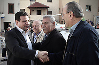 Aiman Uda, no. 1 in the joint Arab list is welcomed in the northern Arab town of Dir Hanna as he campaigns with other mebers of the list ahead of the Israeli elections, February 27, 2015. Photo by Quique Kierszenbaum