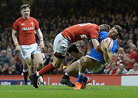 Wales Liam Williams tackles Italy&rsquo;s Matteo Minozzi which sees Liam Williams be given a yellow card<br /> <br /> Photographer Ian Cook/CameraSport<br /> <br /> 2018 NatWest Six Nations Championship - Wales v Italy - Sunday 11th March 2018 - Principality Stadium - Cardiff<br /> <br /> World Copyright &copy; 2018 CameraSport. All rights reserved. 43 Linden Ave. Countesthorpe. Leicester. England. LE8 5PG - Tel: +44 (0) 116 277 4147 - admin@camerasport.com - www.camerasport.com