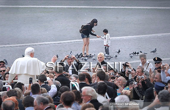 Pope Benedict XVI during his weekly general audience in St. Peter square at the Vatican, Wednesday March. 30, 2011.