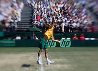 Bernard Tomic (AUS) against Roger Federer (SUI) in the Fourth Rubber. Roger Federer beat Bernard Tomic  6-2 7-5 3-6 6-3...Tennis - Davis Cup - World Group - Royal Sydney Golf Club - Sydney - Day 3 - Sunday September 18th 2011..© AMN Images, Barry House, 20-22 Worple Road, London, SW19 4DH, UK..+44 208 947 0100.www.amnimages.photoshelter.com.www.advantagemedianetwork.com.