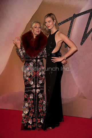 Nadia Swarovski and Karlie Kloss<br /> The Fashion Awards 2016 , arrivals at the Royal Albert Hall, London, England on December 05 2016.<br /> CAP/PL<br /> ©Phil Loftus/Capital Pictures /MediaPunch ***NORTH AND SOUTH AMERICAS ONLY***