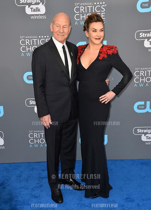 Patrick Stewart & Sunny Ozell at the 23rd Annual Critics' Choice Awards at Barker Hangar, Santa Monica, USA 11 Jan. 2018<br /> Picture: Paul Smith/Featureflash/SilverHub 0208 004 5359 sales@silverhubmedia.com