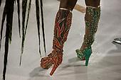 Tuiuti Samba School, Carnival, Rio de Janeiro, Brazil, 26th February 2017. Boots of a sambista dancer.