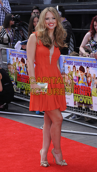 "Kimberley Walsh.The World Film Premiere of ""Horrid Henry: The Movie"" at BFI Southbank, London, England..July 24, 2011.full length red strapless dress sheer panel gold shoes clutch bag.CAP/CAN.©Can Nguyen/Capital Pictures."
