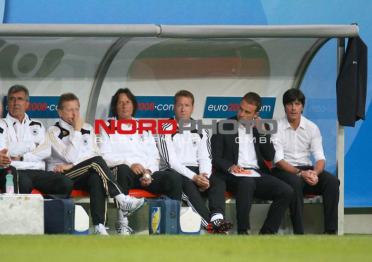 UEFA Euro 2008 Group B Klagenfurt - W&ouml;rthersee Match 11  Stadion Woerthersee<br /> Kroatien ( CRO ) - Deutschland ( GER ) 2:1 ( 1:0)<br /> <br /> Niedergeschlagenheit auf der deutschen Bank  re Joachim Loew (L&ouml;w) - ( Germany / Trainer / Coach / ) daneben Hans-Dieter Flick ( Germany / Trainer / Coach / <br />  ) Andreas Koepke ( K&ouml;pke ) (Germany / Trainer / Keeper - Coach /  ) <br /> <br /> Foto &copy; nph (  nordphoto  )<br /> <br /> <br /> <br />  *** Local Caption ***