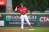 Billings Mustangs Victor Ruiz (26) celebrates after hitting a double during a Pioneer League game against the Grand Junction Rockies at Dehler Park on August 14, 2019 in Billings, Montana. Grand Junction defeated Billings 8-5. (Zachary Lucy/Four Seam Images)