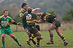 Kolo Vea gets hit in a very strong tackle by Manoa Vaipulu. Counties Manukau Premier Club Rugby game between Drury and Pukekohe, played at the Drury Domain on Saturday June 12 2010.