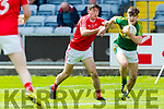 Donal O'Sullivan Kerry in action against Eoghan Callaghan Louth in the All Ireland Minor Football Quarter Finals at O'Moore Park, Portlaoise on Saturday.
