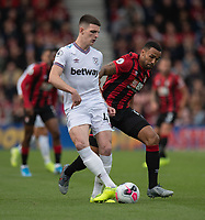 West Ham United's Declan Rice (left) battles with Bournemouth's Callum Wilson (right) <br /> <br /> Photographer David Horton/CameraSport<br /> <br /> The Premier League - Bournemouth v West Ham United - Saturday 28th September 2019 - Vitality Stadium - Bournemouth<br /> <br /> World Copyright © 2019 CameraSport. All rights reserved. 43 Linden Ave. Countesthorpe. Leicester. England. LE8 5PG - Tel: +44 (0) 116 277 4147 - admin@camerasport.com - www.camerasport.com