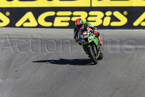 28.09.2013. Laguna Seca, California, USA.  Tom Sykes #66 on the Kawasaki Racing Team Kawasaki ZX-10R leads World SuperBike race #1 at the WSBK World Championship - Monterey Round held September 27-29 at Mazda Raceway Laguna Seca CA