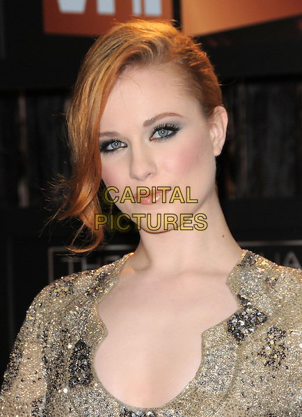 EVAN RACHEL WOOD.The 14th Annual Critics Choice Awards held at The Santa Monica Civic Center in Santa Monica, California, USA. .January 8th, 2009.headshot portrait gold beige silver beads beaded dress jewel encrusted .CAP/DVS.©Debbie VanStory/Capital Pictures.