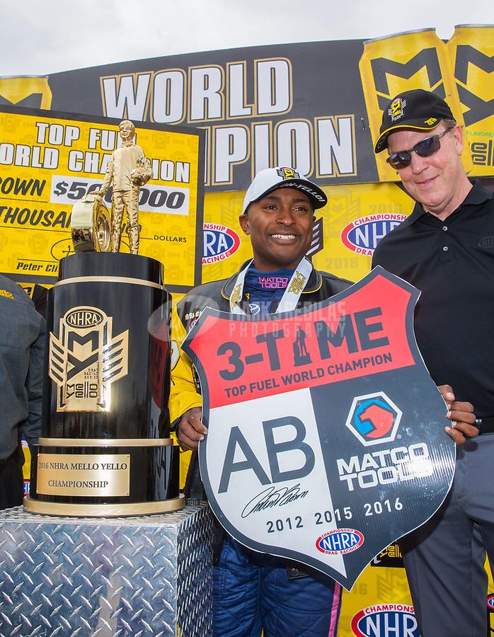 Oct 30, 2016; Las Vegas, NV, USA; NHRA top fuel driver Antron Brown celebrates after clinching championship during the Toyota Nationals at The Strip at Las Vegas Motor Speedway. Mandatory Credit: Mark J. Rebilas-USA TODAY Sports