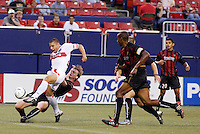 The Fire's Chris Armas gets behind the MetroStars' defense and scores his first goal of the year during first half action between the Chicago Fire and the NY/NJ MetroStars 2-0 at Giant's Stadium, East Rutherford, NJ, on July 24, 2004.