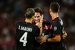 AC Milan Midfielder Hakan Calhanoglu (C) celebrating his goal with his teammates during the 2017 International Champions Cup China  match between FC Bayern and AC Milan at Universiade Sports Centre Stadium on July 22, 2017 in Shenzhen, China. Photo by Marcio Rodrigo Machado / Power Sport Images