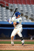 Hartford Yard Goats shortstop Pat Valaika (10) at bat during the first game of a doubleheader against the Trenton Thunder on June 1, 2016 at Sen. Thomas J. Dodd Memorial Stadium in Norwich, Connecticut.  Trenton defeated Hartford 4-2.  (Mike Janes/Four Seam Images)