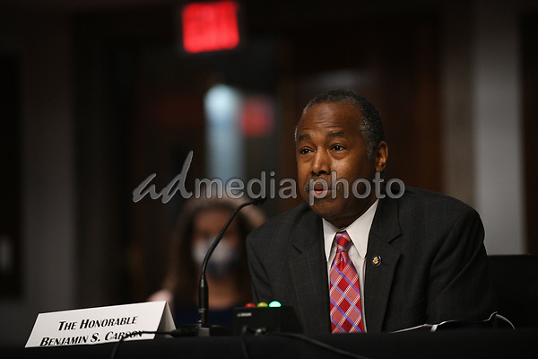 United States Secretary of Housing and Urban Development (HUD) Ben Carson, answers questions of U.S. Senators on Capitol Hill in Washington, D.C., June 9, 2020, during a hearing of the U.S. Senate Committee on Banking, Housing, and Urban Affairs to examine housing regulations during the pandemic. <br /> Credit: Astrid Riecken / Pool via CNP/AdMedia
