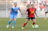 Bridgeview, IL, USA - Saturday, April 23, 2016: Chicago Red Stars midfielder Julie Johnston (8) and Western New York Flash forward Adriana Leon (19) during a regular season National Women's Soccer League match between the Chicago Red Stars and the Western New York Flash at Toyota Park. Chicago won 1-0.