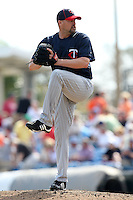 March 8, 2010:  Pitcher Clay Condrey of the Minnesota Twins during a Spring Training game at Ed Smith Stadium in Sarasota, FL.  Photo By Mike Janes/Four Seam Images