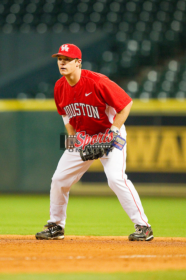 Codey Morehouse #5 of the Houston Cougars on defense against the Texas A&M Aggies at Minute Maid Park on March 6, 2011 in Houston, Texas.  Photo by Brian Westerholt / Four Seam Images