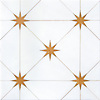 Orion, a waterjet stone mosaic, shown in polished Thassos and Xanadu, is part of the Trove® collection for New Ravenna.