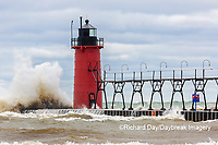 64795-02305 South Haven Lighthouse with high waves crashing South Haven,  MI