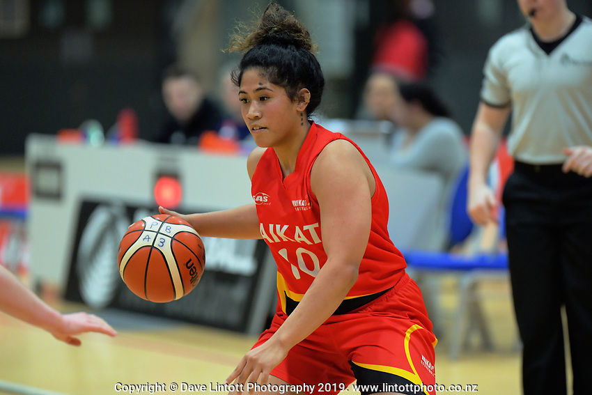 Waikato's Alyssa Hirawani in action during the National Under-23 Basketball Championship women's final between Waikato and Otago at Te Rauparaha Arena in Porirua, New Zealand on Saturday, 10 August 2019. Photo: Dave Lintott / lintottphoto.co.nz