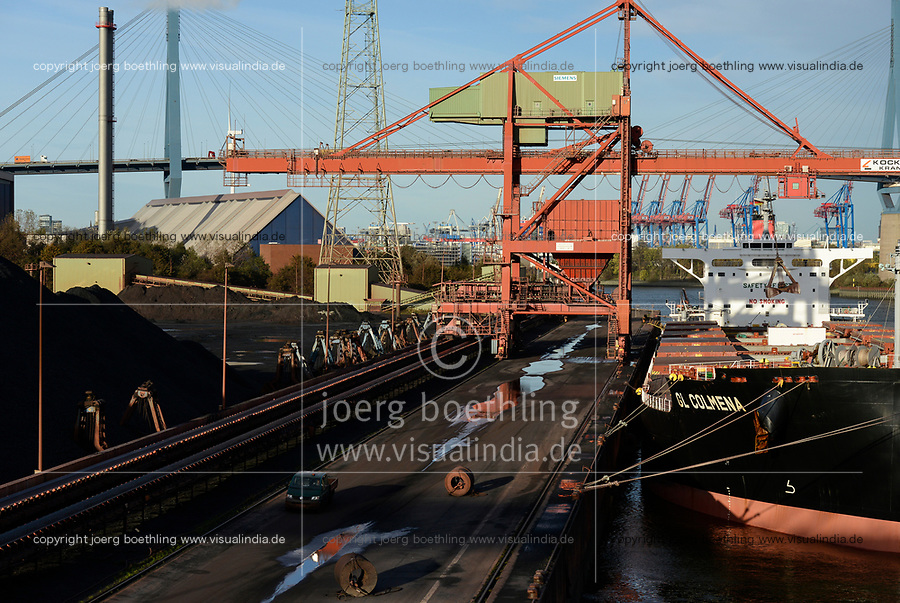 Germany, Hamburg, Hansaport import of coal and ore, unloading of vessel GL Colmena/ DEUTSCHLAND, Hamburg, Hansaport, Import von Kohle und Erz, Entladungdes Schiffes GL Colmena