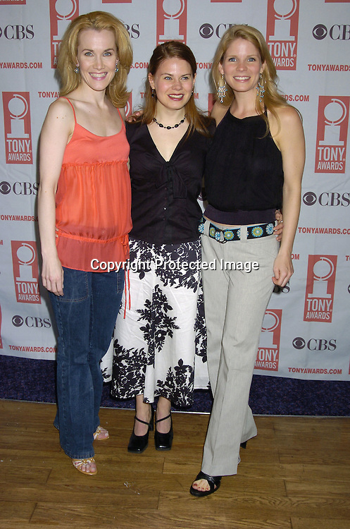 Erin Dilley, Celia Keenan-Bolger and Kelli O'Hara ..at The 2005 Tony Awards Nominees Meet the Press Reception on May 11, 2005 at The Marriott Marquis Hotel. ..Photo by Robin Platzer, Twin Images