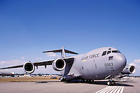 US Air Force Boeing C-17 Globemaster III Military Cargo Transport Aircraft on Static Display - at Abbotsford International Airshow, BC, British Columbia, Canada