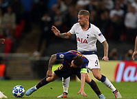 Toby Alderweireld of Tottenham Hotspur and Lionel Messi of FC Barcelona during Tottenham Hotspur vs FC Barcelona, UEFA Champions League Football at Wembley Stadium on 3rd October 2018