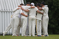 Hornchurch team hug after drinks break during Shenfield CC (batting) vs Hornchurch CC (Bowling) ,Shepherd Neame Essex League Cricket at Chelmsford Road on 12th May 2018
