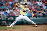 Vanderbilt Commodores pitcher Jake Eder (39) delivers a pitch to the plate against the Louisville Cardinals in the NCAA College World Series on June 21, 2019 at TD Ameritrade Park in Omaha, Nebraska. Vanderbilt defeated Vanderbilt defeated Louisville 3-2 to head to the CWS Finals. (Andrew Woolley/Four Seam Images)