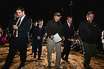 MIDLAND CITY, AL- FEBRUARY 4:  Dale County Sheriff's deputies and the FBI leave a press conference after talking to reporters concerning the resolution of the seven day hostage situation February 4, 2013.  The suspect is deceased and the 6 year-old child was rescued according to Sheriff Wally Olson (center) and FBI Special Agent in charge Steve Richardson (2nd from right).  (Photo by Mark Wallheiser/Getty Images)