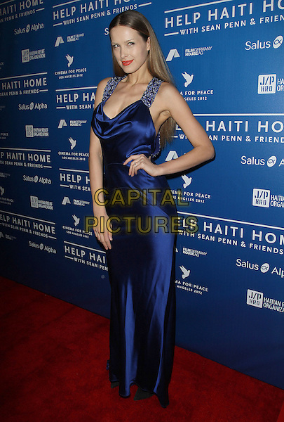Petra Nemcova.Sean Penn And Friends Cinema For Peace Event Benefiting J/P Haitian Relief Organization held at the Montage Hotel, Beverly Hills, California, USA..January 14th, 2012  .full length blue silk satin dress hand on hip.CAP/ADM/KB.©Kevan Brooks/AdMedia/Capital Pictures.