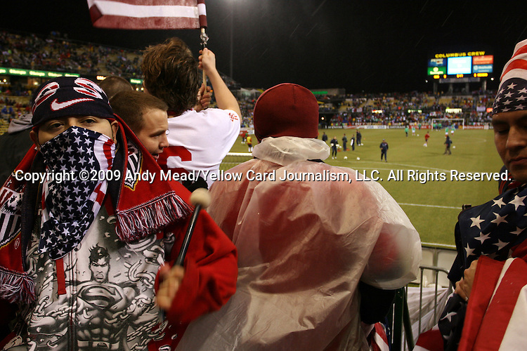 11 February 2009: U.S. fans. The United States Men's National Team played the Mexico Men's National Team at Columbus Crew Stadium in Columbus, OH in the Hexagonal, the final CONCACAF round, a FIFA 2010 South Africa World Cup Qualifier.