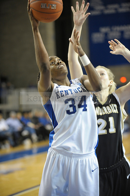UK's Victoria Dunlap puts up the ball during the second half of the University of Kentucky Women's basketball game against Vanderbilt at Memorial Coliseum in Lexington, Ky., on 1/23/11. Uk led the game at half 78-68. Photo by Mike Weaver   Staff