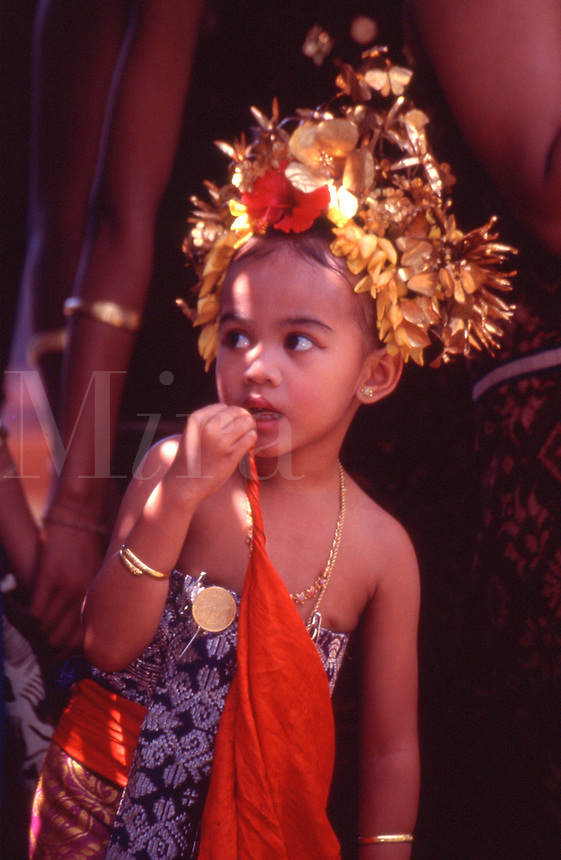 Indonesia Balinese girl during a ceremonial dance in the village of Tenganan