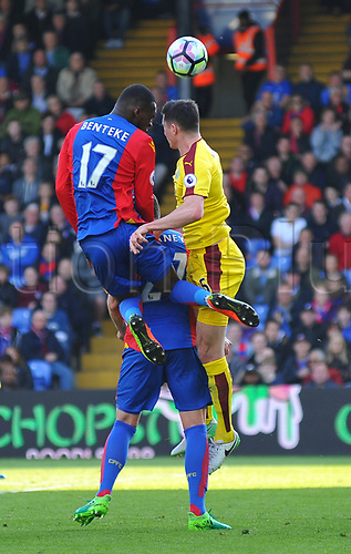 April 29th 2017, Selhurst Park, London England; EPL Premier league football, Crystal Palace versus Burnley; header by Christian Benteke, Forward for Crystal Palace is defended by Michael Keane, Defender for Burnley