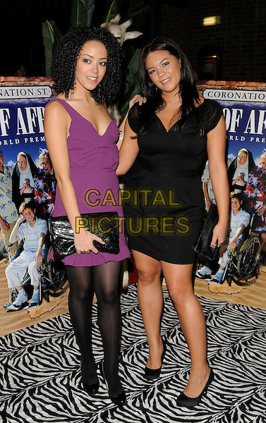 "LEAH HACKETT & GUEST.Coronation Street ""Out Of Africa"" DVD Premiere at Odeon Printworkds Centre, Withy Grove, Manchester, England. .November 4th 2008.full length black purple dress clutch bag .CAP/CAN.©Can Nguyen/Capital Pictures."
