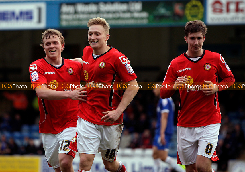 AJ Leitch-Smith(C) of Crewe Alexandra celebrates after scoring /ca. 2nd goal - Charlton Athletic vs Stevenage - nPower League One Football at the Valley, London - 10/03/12 - MANDATORY CREDIT: Helen Watson/TGSPHOTO - Self billing applies where appropriate - 0845 094 6026 - contact@tgsphoto.co.uk - NO UNPAID USE.