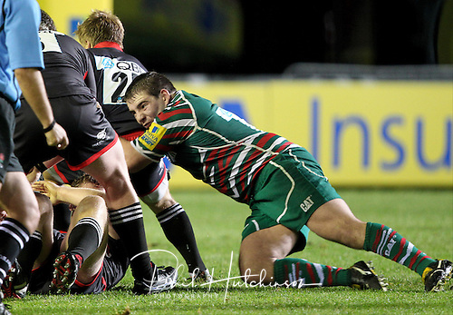 """10.09.2012, Leicester, England. Rugby Union. ..Leicester Tigers A v Newcastle Falcons A. Tiger's Fraser Balmain in action  during the Aviva Premiership """"A"""" League game played at the Welford Road Stadium."""