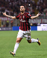 esultanza gol Suso goal celebration<br /> Milano 27-08-2017 Stadio Giuseppe Meazza in San Siro Calcio Serie A<br /> 2017/2018 Milan - Cagliari Foto Imagesport/Insidefoto